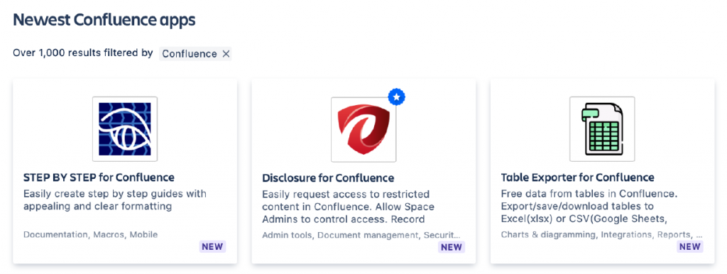 newest confluence apps